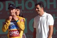 Devolder, con Indurain en el podio