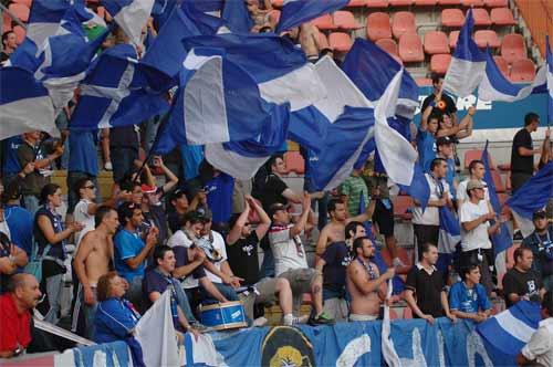 Afición azul en El Molinón el verano pasado