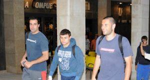 Berto, Matías y Cervero, en el inicio de la peregrinación (Foto: Zureda Press)