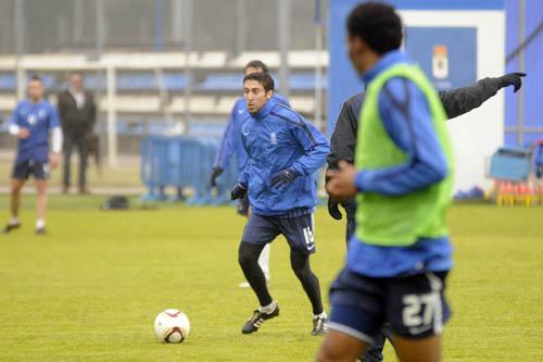 Falcón, en el entrenamiento de ayer en El Requexón (Foto: Zureda Press)