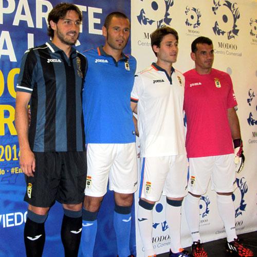 Generelo con la tercera equipación, Cervero con la primera, Erice con la segunda y Esteban con la de portero (Foto: MO).