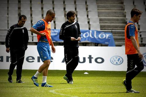 Generelo, en el entrenamiento de ayer en el Tartiere (Foto: Real Oviedo).