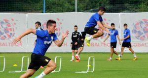 Christian y Óscar Gil, en una fase del entrenamiento de hoy (Foto: Zureda Press)